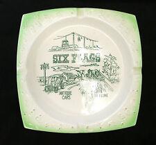 RARE Six Flags Theme Park Antique Cars Flue White Green Ashtray Japan Vintage