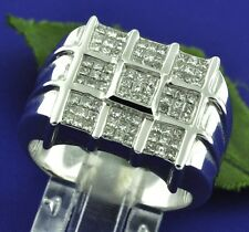 2.30 ct 18k Solid White Gold Mens Natural Diamond Ring Hugh Heavy Princess Cut
