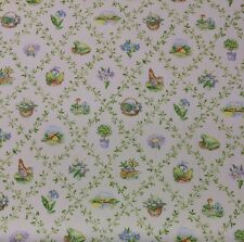 "BLOOMCRAFT LATTICE COUNTRY ROOSTER FROG FLORAL DRAPERY FABRIC BY THE YARD 54""W"
