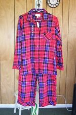 VICTORIA'S SECRET RED PLAID FLANNEL PAJAMA SET  M NWT