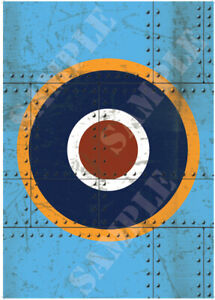 Spitfire Roundel Poster Blue Scratch Rivit Panel Graphic A2 A3 A4 WW2 UK Plane