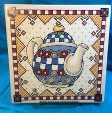 1994 Mary Engelbreit Teapot 8x8 Wall Plaque/Trivet, Santa Barbara Ceramic Design