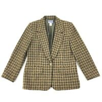 Vintage Pendleton Plaid Blazer SIZE 8 Petite Brown One Button Wool Blend Jacket