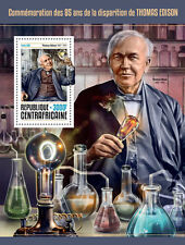 Central Africa 2016 Thomas Edison 85th Aniv Bulb Inventor Gramophone S/S CA16603