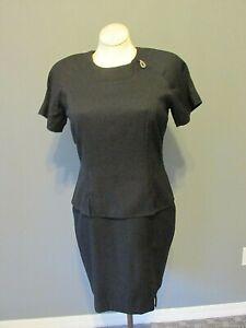 NEWPORT NEWS Black Peplum Tiered Dress 14 Sheath Pencil Professional Cocktail EX