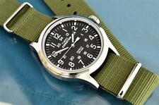 VINTAGE TIMEX MILITARY STYLE 24 HOUR 40MM INDIGLO WATCH, G-10 STRAP