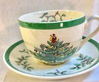 Vintage Spode Cristmas Tree Coffee Tea Cup And Saucer Holiday Classic EUC
