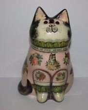 "Joan and David De Bethel Rye Sussex. Decoupage Pottery Cat. 1992. 7"""