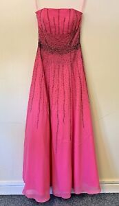 Riva Designs NWT Hot Pink Evening Prom Formal Dress With Scarf Size UK6 US4