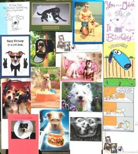 Lot of 18 DOG LOVERS CARDS 12 Birthday 2 TOY 1 GW+ FUNNY & BRIGHT AVANTI & RPG
