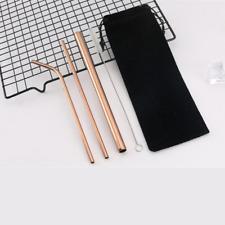 4 Pcs Stainless Steel Metal Drinking Straw Reusable Straws Cleaner Brush Kit