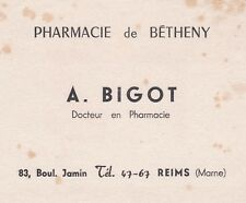 V43 BUVARD Pharmacie de BETHENY A BIGOT Bd Jamin a REIMS