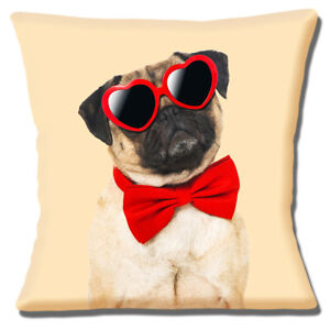 Pug Cushion Cover Heart Sunglasses Red Bow Tie Holiday Cream 16x16 inch 40 cm