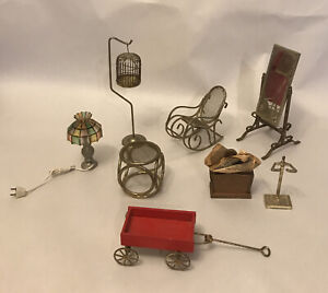 Vintage Miniature Lot 9 / Lamp Chair Table Mirror Wagon ... And More