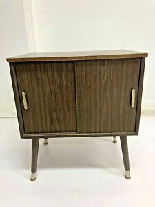 Mid Century Record Cabinet danish modern vintage wood table stand lp storage 60s