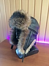 Natural Real Genuine Leather Winter Hat With Faux Fur For Men