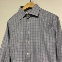 "Thomas Pink Check Long Sleeve Shirt. 15.5""/39cm Double Cuff. Cotton. Large L"