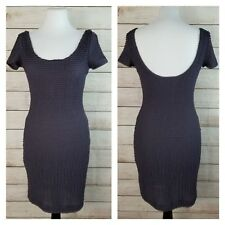 Pins & Needles S Gray Cap Sleeve Bodycon Dress Micro Ruffled Lined Below Knee