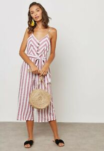 New Miss Selfridge PETITE Striped Front Belted Cropped Linen Jumpsuit RRP £39
