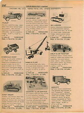 1961 ADVERT 4 PG Tonka Truck Tanker Houseboat Golf Course Tractor Pick up Dump