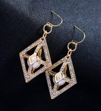 New Betsey Johnson Rare Alloy Rhinestone crystal Pearl Drop Earrings Jewelry