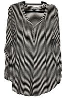 Torrid Black Striped Long Sleeve W/ Button Detailing V Neck Stretchy Top Size 3