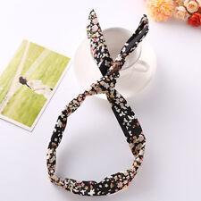 Classic Floral Bow Elastic Rabbit Bunny Ear Ribbon Hair Band Wire Headband Decor