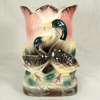 Vintage Japan Planter Vase Figural Lusterware Pearlescent Iridescent Duck Flower