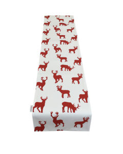 """70"""" Christmas Table Runner fully lined Red Stag Reindeer Design Decor Decoration"""