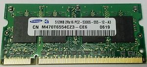 Samsung PC2-5300S 512 MB SO-DIMM 667 MHz DDR2 Memory Modules 1