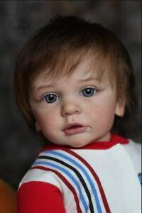 Realistic Reborn Baby Boy Doll Grey Eyes Newborn Doll Soft Silicone Cloth Body
