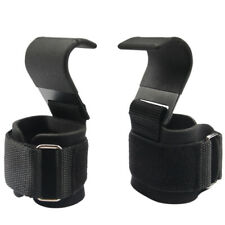 New listing Fitness Weight Lifting Heavy Duty Hooks With Neoprene Pad Gym Wrist Wraps BeH8N3