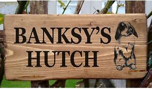 PERSONALISED RABBIT SIGN HUTCH PLATE GATE RUN PLAQUE BUNNY OWN NAME LOP-EARED