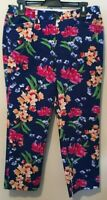 Lands' End Womens Blue w/ Floral Mid Rise Straight Leg Cropped Pants Size 8
