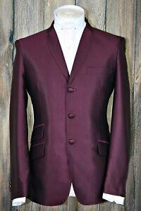 mod suit,skinhead suit Wine tonic suit 3 button suit slim fit mod suit