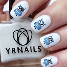 Nail WRAPS Nail Art Water Transfers Decals - Blue Owl - S731