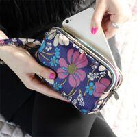 3 Zipper Women Purse Wristlet Bag Waterproof Cell Phone Pouch Handbag Wallet