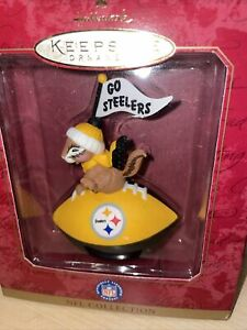 NEW Hallmark Pittsburgh Steelers Football Ornament NFL Chipmunk w/Pennant