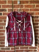 Entro Women's Shirt Top Hooded Burgundy Plaid Ivory Sleeves Tie Up Front Sz.L