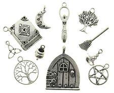 AVBeads Pagan Wicca Charms Mixed Set Silver Metal Charms 11pcs Tree Goddess Moon