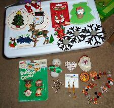 Vintage Christmas Ornaments Decorations Junk Drawer Lot Santa Snowman & extras!