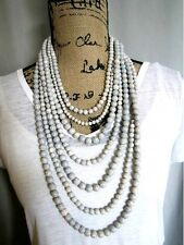 White Multi Strand Genuine Howlite Stone Bead Luxury Necklace Semi Precious