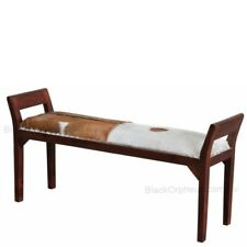 Leather Goat Bench Seat, L130cm, Leather 2 Seater Stool.