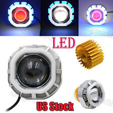 High/Low Beam LED Headlight For Motorcycle Angel Eyes White Devil Eye US Stock