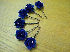 6 BIG ROYAL BLUE FLOWER & CRYSTAL HAIR GRIPS/PINS WEDDING/PROM