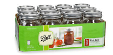 Ball Regular, Mouth Clear-Glass, Mason Jars, 16oz/Pint, Canning Preserve Lids 12