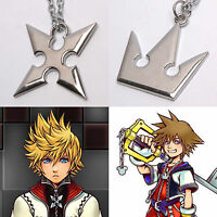 Set of 2 Kingdom Hearts Sora Crown Roxas Cross Metal Necklace Keyblade Pandent
