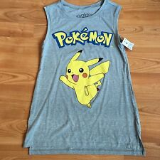 #51 NEW Pokemon Pikachu Gray Yellow Tank Top Shirt XS Extra Small Women's