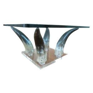 MID CENTURY MODERN CHIC 70's LUCITE & HORN COFFE TABLE