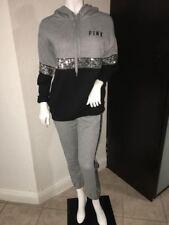 VICTORIA SECRET PINK Set Long Hoodie Bling Jacket & Sequin Banded Leg pants XS
